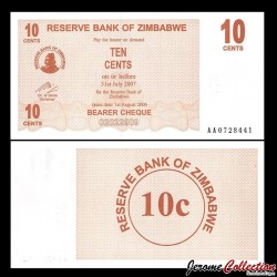 ZIMBABWE - Billet de 10 Cents - Bearer cheque - 01.08.2006