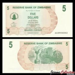 ZIMBABWE - Billet de 5 DOLLARS - Bearer cheque - 01.08.2006