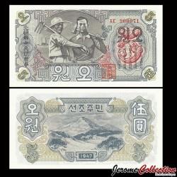 COREE DU NORD - Billet de 5 Won - 1947 P9b