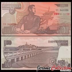 COREE DU NORD - Billet de 10 Won - 1998 / 2007 - 95 IEME ANNIVERSAIRE P51a