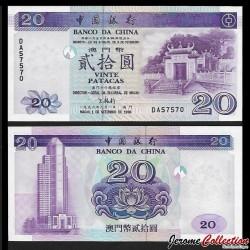 MACAO - Banque de Chine - Billet de 20 Patacas - 1996