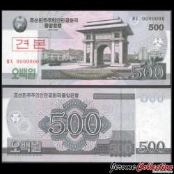 COREE DU NORD - Billet de 500 Won 2008 - SPECIMEN P63s