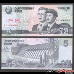 C0REE DU NORD - Billet de 5 Won - 2002 - SPECIMEN