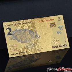BRESIL - Billet de 2 Reals - Tortue - Doré - 2010