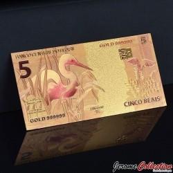 BRESIL - Billet de 5 Reals - Grue - Doré - 2010