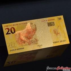 BRESIL - Billet de 20 Reals - Singe - Doré - 2010