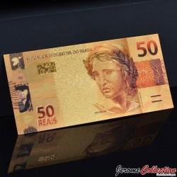 BRESIL - Billet de 50 Reals - Jaguar - Doré - 2010