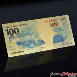 BRESIL - Billet de 100 Reals - Poissons - Doré - 2010 BRESIL100- 24k