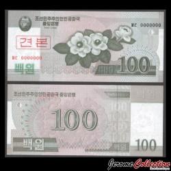COREE DU NORD - Billet de 100 Won 2008 - SPECIMEN P61s