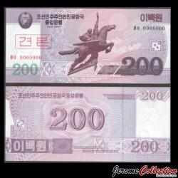 COREE DU NORD - Billet de 200 Won 2008 - SPECIMEN P62s