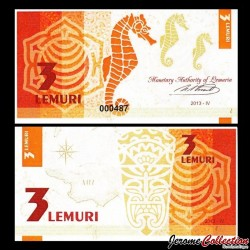 LEMURIA - Billet de 3 Lemuri - Hippocampe - 2013