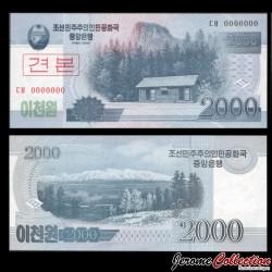 COREE DU NORD - Billet de 2000 Won - 2008 - SPECIMEN P65s