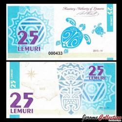 LEMURIA - Billet de 25 Lemuri - Tortue - 2013