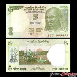 INDE - Billet de 5 Roupies - Mahatma Gandhi - 2011