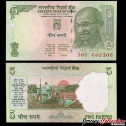 INDE - Billet de 5 Roupies - Mahatma Gandhi - 2010