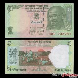 INDE - Billet de 5 Roupies - Mahatma Gandhi - 2009 P94A1