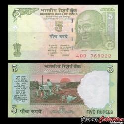 INDE - Billet de 5 Roupies - Mahatma Gandhi - 2009