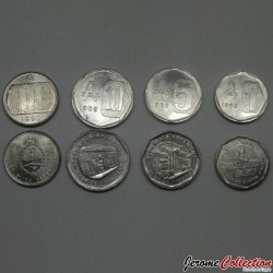 ARGENTINE - SET / LOT de 4 PIECES de 1 5 10 100 AUSTRALES - 1989 1990