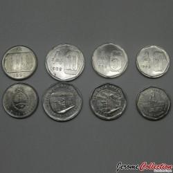 ARGENTINE - SET / LOT de 4 PIECES de 1 5 10 100 AUSTRALES - 1989 1990 Km#100 101 102 103
