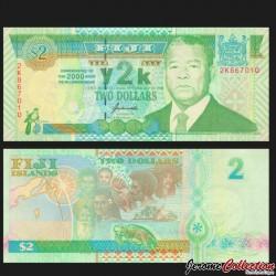 FIDJI - Billet de 2 DOLLARS - Penaia Kanatabatu Ganilau - 2000