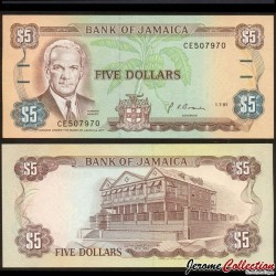 JAMAIQUE - Billet de 5 DOLLARS - Norman Manley - 1.7.1991 P70d1