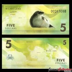 TERRE DE WILKES - Billet de 5 DOLLARS - Otarie de Kerguelen - 2014