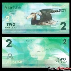 TERRE DE WILKES - Billet de 2 DOLLARS - Petrel géant - 2014 Wilkers 002