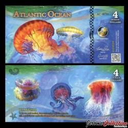 ATLANTIC OCEAN - Billet de 4 Ocean DOLLARS - Méduse - 2017