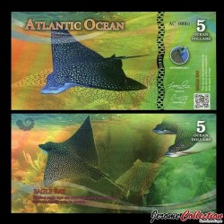 ATLANTIC OCEAN - Billet de 5 Ocean DOLLARS - Raie léopard - 2017