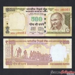 INDE - Billet de 500 Roupies - Mahatma Gandhi - 2016 P106g2 - Lettre E