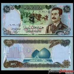 IRAK - Billet de 25 Dinars - Saddam Hussein - 1986