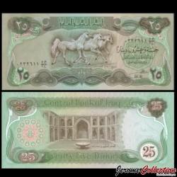 IRAK - Billet de 25 Dinars - Chevaux Pur sang - 1982