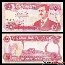 IRAK - Billet de 5 Dinars - Saddam Hussein - 1992