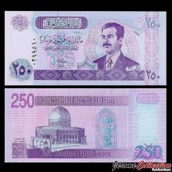 IRAK - Billet de 250 Dinars - Saddam Hussein - 2002
