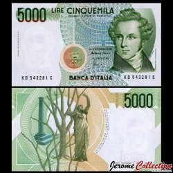 ITALIE - Billet de 5000 Lire - Vincenzo Bellini - 1985