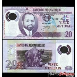 MOZAMBIQUE - Billet de 20 Meticais - Polymer - Rhinoceros - 2011 P149a