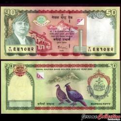 NEPAL - Billet de 50 Roupies - 50 ans de la Banque Centrale du Népal - 2005