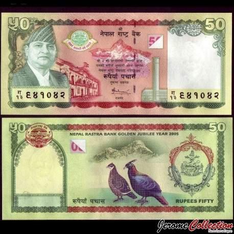 NEPAL - Billet de 50 Roupies - 50 ans de la Banque Centrale du Népal - 2005 P52a