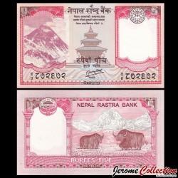 NEPAL - Billet de 5 Roupies - 2012