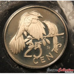 ÎLES VIERGES BRITANNIQUES - PIECE de 25 Cents - Coucou - 1973 Km#4