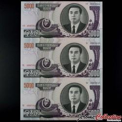 COREE DU NORD - Billet de ALBUM - PLANCHE de 3 BILLETS de 5000 Won - 2006