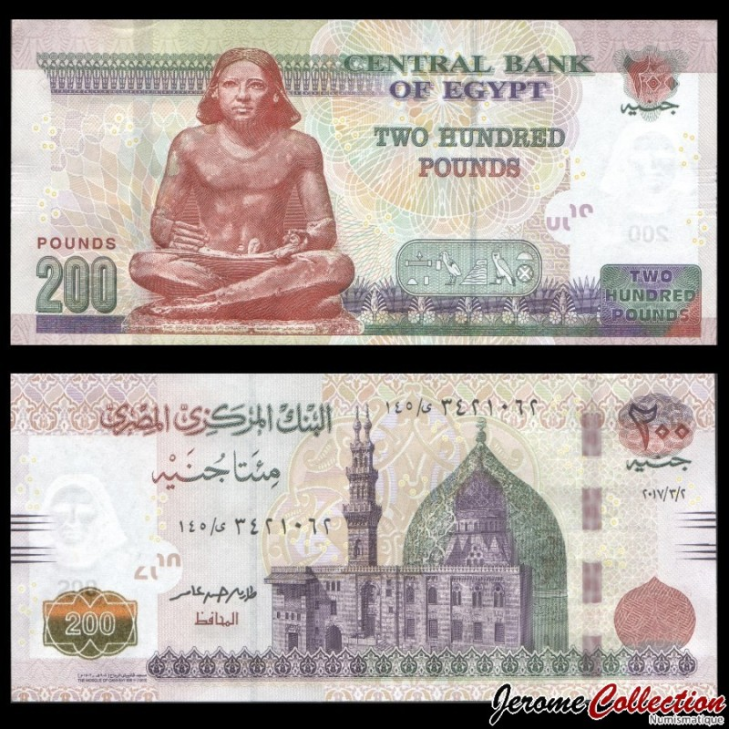 Egypte Billet De 200 Pounds Scribe 2017