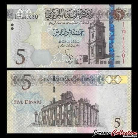 LIBYE - Billet de 5 Dinars - Tour de l'horloge ottomane - 2015 P81a