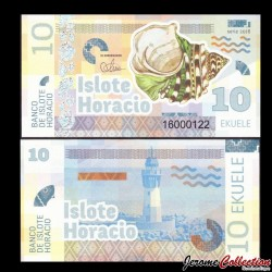 ISLOTE HORACIO / GUINEE EQUATORIALE - Billet de 10 Ekuele - Coquillage - 2016 0010
