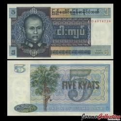 MYANMAR (ex-Birmanie) - Billet de 5 Kyats - 1973