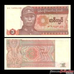 MYANMAR (ex-Birmanie) - Billet de 1 Kyat - 1990