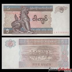 MYANMAR (ex-Birmanie) - Billet de 5 Kyats - 1995