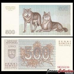 LITUANIE - Billet de 500 Talonas - Loups - 1993 P46a
