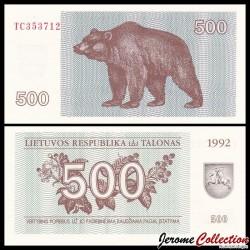 LITUANIE - Billet de 500 Talonas - Ours - 1992 P44a