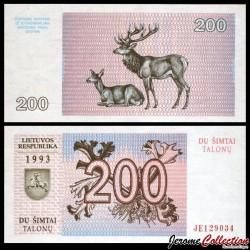 LITUANIE - Billet de 200 Talonas - Cerfs rouges - 1992